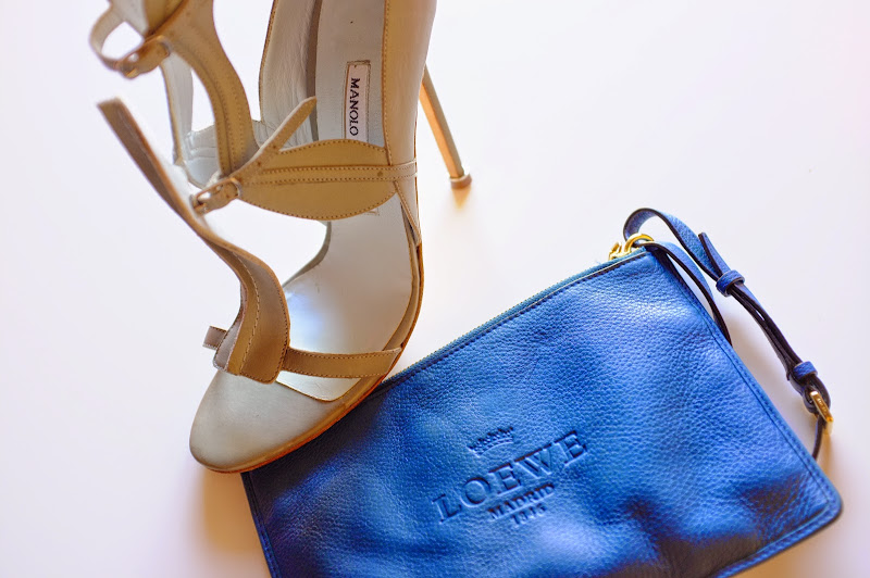 Manolo Blahnik BB Celine phython suede clutch, Christian Loboutin phython sandal, Acne coral bag with metal embellishment