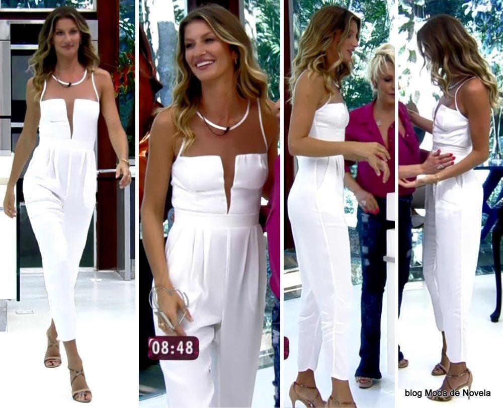 moda do programa Mais Você - look da Gisele Bündchen com macacão branco dia 25 de agosto