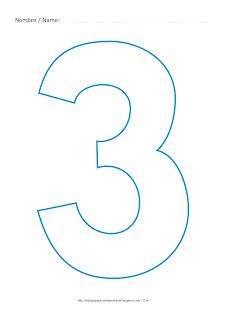 Lámina para colorear y pintar el número tres en color cian