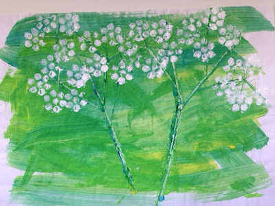 cow parsley - bubblewrap printing