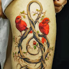 leg tree treble clef with red birds - Leg Tattoos Designs