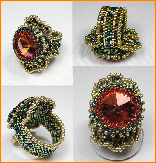 Кольца, выполненные из японского бисера в технике бисерного ткачества, с использованием риволи Сваровски, автор Эрин Симонетти (Eryn Simonetti)