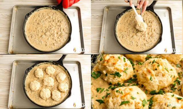 photo collage: place skillet on baking pan, drop biscuits into sausage gravy, pan filled with biscuits and finished skillet.