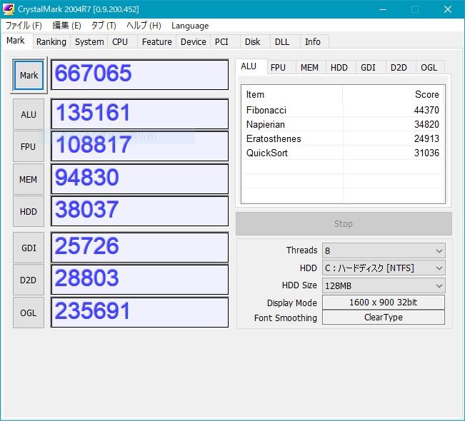 DAIV-DQZ510H2-SH3でベンチマーク