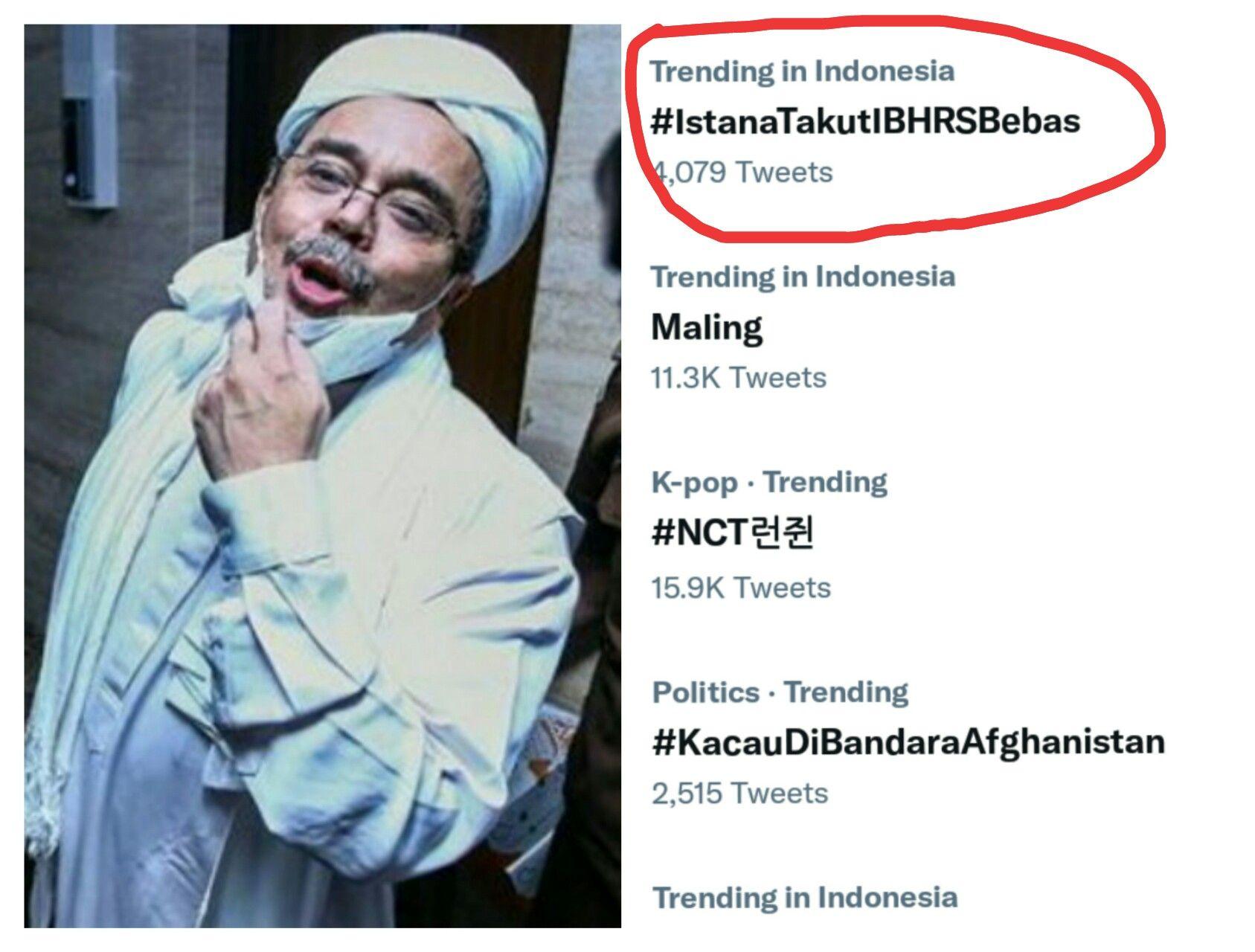 Tagar #IstanaTakutIBHRSBebas Menggema, Netizen Singgung Rezim Dzalim dan Pengadilan Akhirat