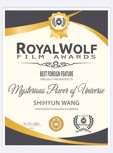 《美國皇家戰狼競賽》2020年12月  最佳紀錄長片:外語奬 影片:神秘的宇宙能量(中文版60分鐘)