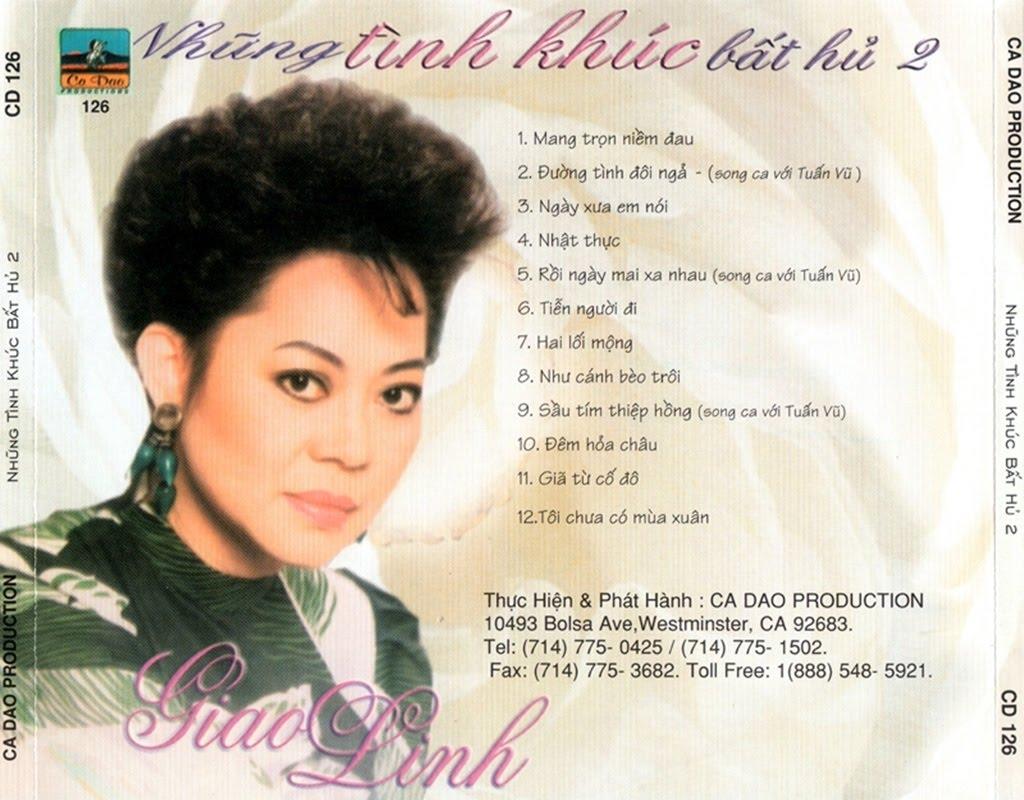 Album: Tuyển chọn tình khúc bất tử với tiếng hát Giao Linh gồm 12 bài, với  các tác phẩm như: Mang Trọn Niềm Đau, Đường Tình Đôi Ngã, Ngày Xưa Em Nói,  ...