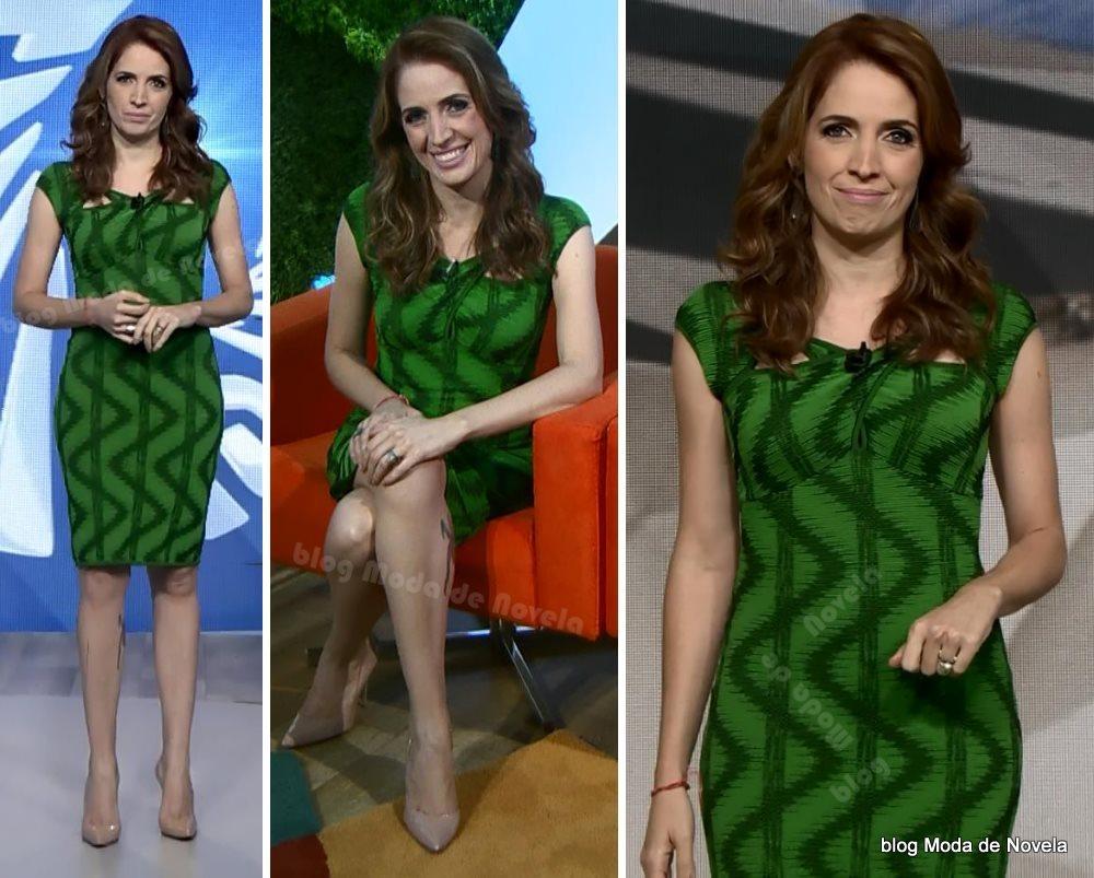 moda do programa Fantástico, vestido verde da Poliana Abritta dia 9 de novembro