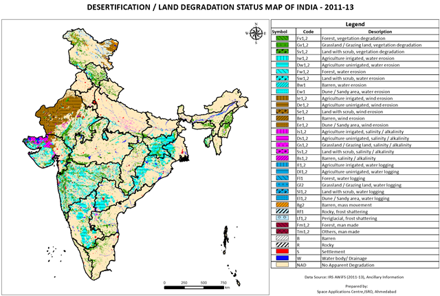 Desertification and land degradation status in India, 2011-2013. Graphic: Indian Space Research Organization
