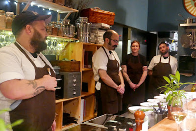 The motley crew of Farm Spirit PDX - head Chef Aaron Adams introduces everyone on the Farm Spiritstaff we'll be seeing this night, including himself, Chef Ricardo, Chef Taylor, and Chef Tim (left to right)