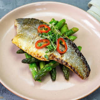 Japanese Marinated Sea Bass With Asparagus And Chili.
