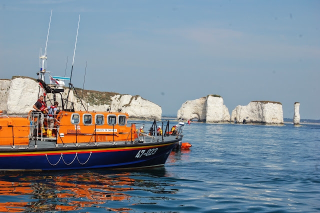 Poole's Tyne class lifeboat on exercise off Old Harry rocks with the B class Atlantic 85  Sunday 14 July 2013 Photo: RNLI Poole/Dave Riley