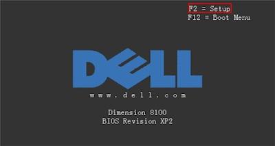 Màn hình khởi động của DELL có phím truy cập Menu BOOT và BIOS