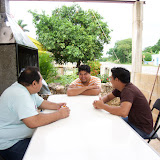 Ezequiel, Jorge, and Eric planning for the events of the evening.