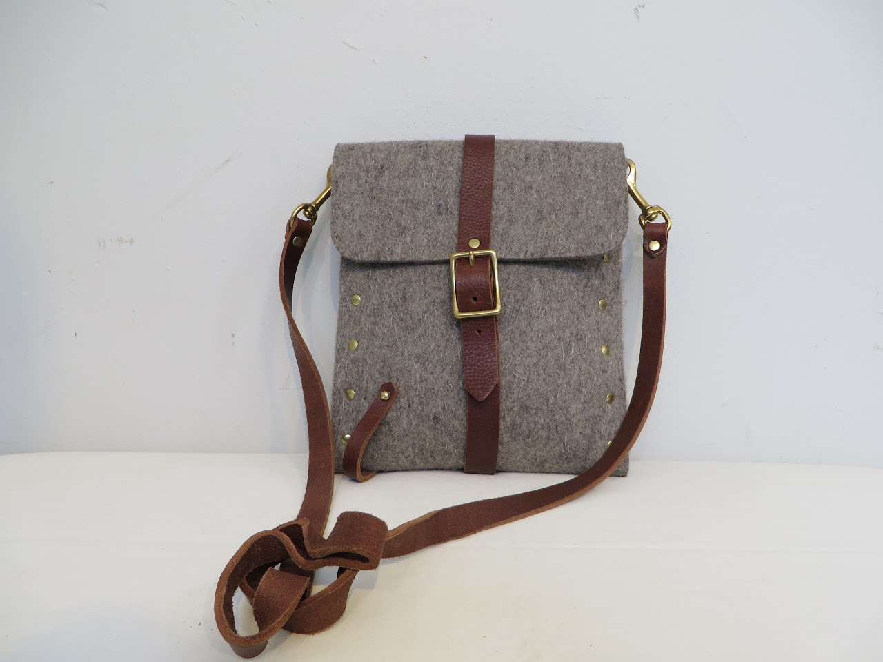 Flux Felted Wool and Leather Satchel