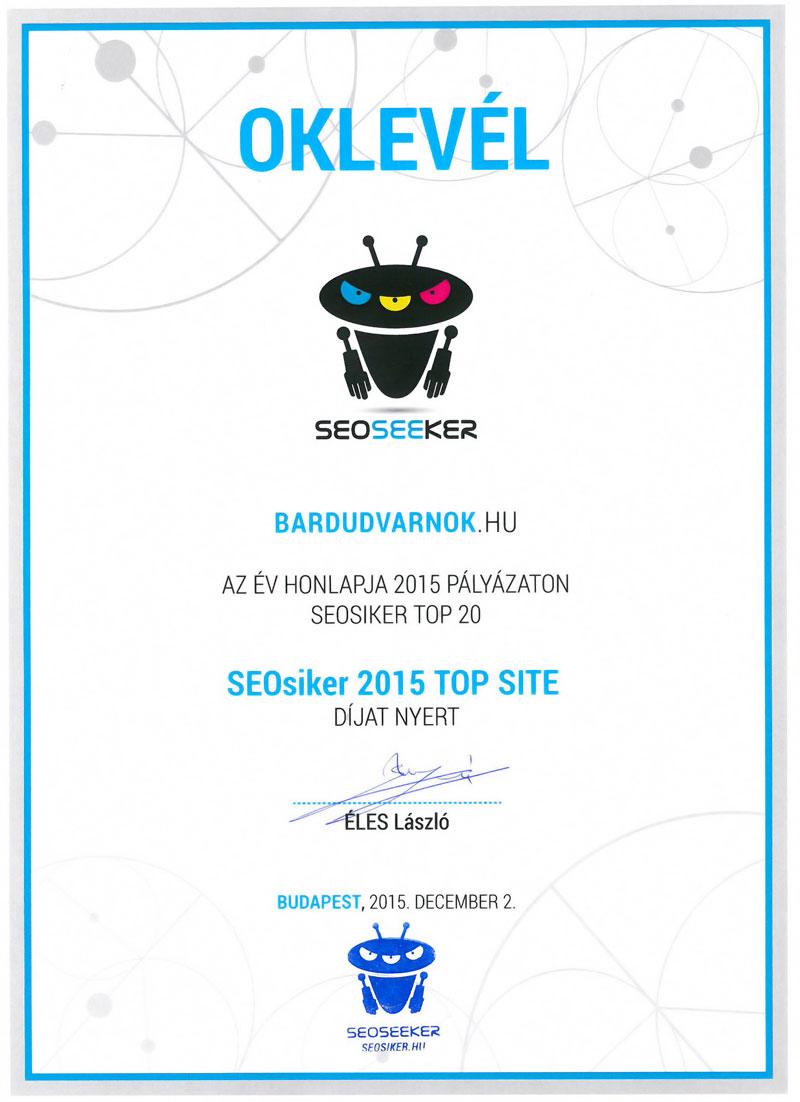 Az Év Honlapja SEOsiker 2015 TOP SITE Díj - az oklevél