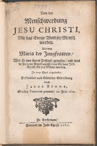 Cover of Jakob Bohme's Book Von der Menschwerdung Jesu Christi (1682,in German)