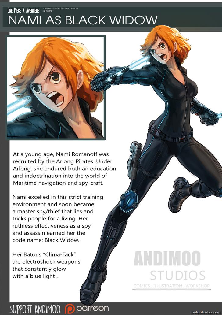 Nami como la Viuda Negra (Black Widow)