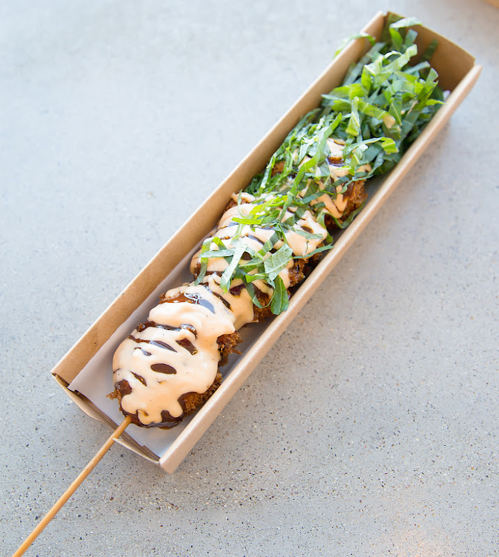 photo of Tsukune Chicken Panko Katsu skewer in a box