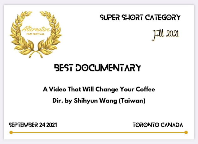 [ 加拿大特別卓越電影展 ]2021年7~9月  影片:三分鐘質能轉換 得奬:最佳紀錄短片 https://vimeo.com/594670127/1fcefd9661 內容:台灣氣功大師萬真師父透過宇宙能量、只要準備酒或咖啡...打開影片視頻觀看影片酒或咖啡就會接收到能量味道改變。 製作:王世昀導演 主播:王世昀導演