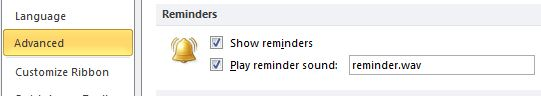 Outlook 2010 reminder settings