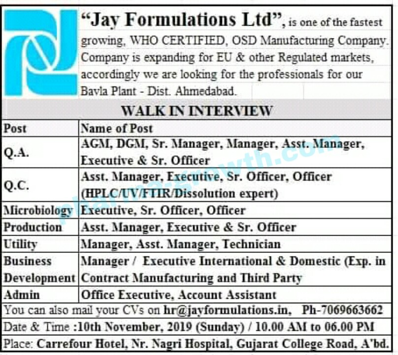 Jay Formulation Ltd – Walk in interview for Production | QA | QC | Microbiology | Utility | Admin | Business Development on 10th Nov' 2019
