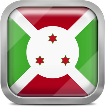 Burundi square flag with metallic frame