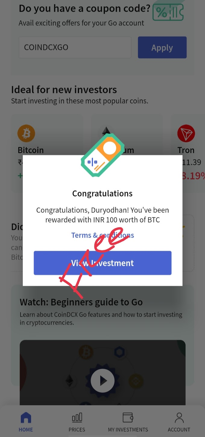 Get 100₹ Bitcoin Free for all user without any document