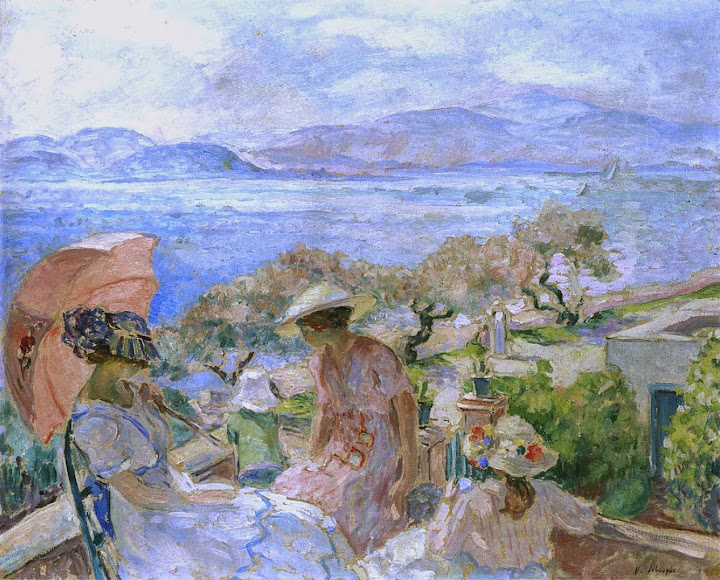 Henri Lebasque - On the terrace by the sea at St Maxime