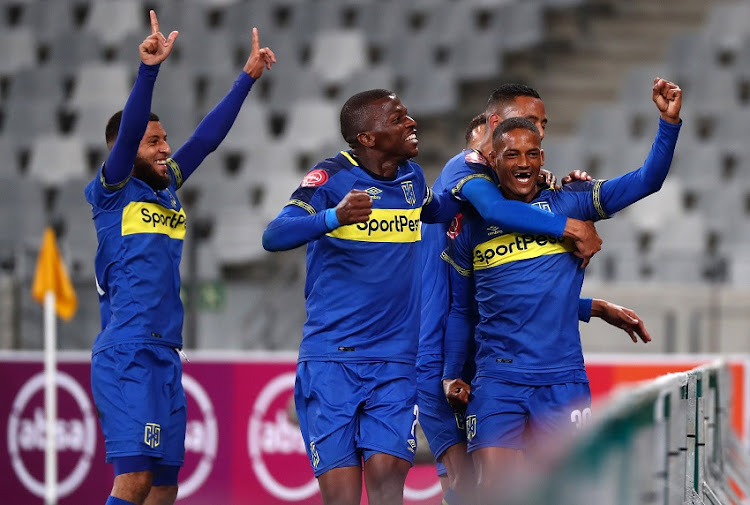 Craig Martin of Cape Town City FC celebrates goal with teammates during the Absa Premiership 2018/19 football match between Cape Town City FC and SuperSport United at Cape Town Stadium, Cape Town on 4 August 2018.