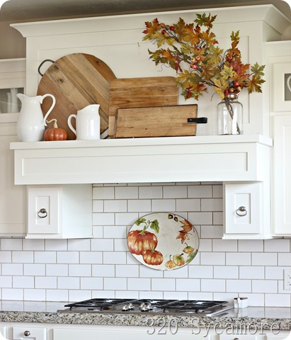 kitchen mantel shelf wood cutting boards