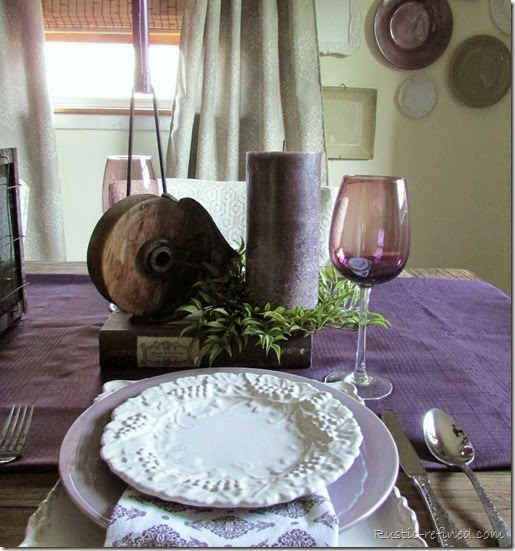 Using some Italian Dessert plates and some polish pottery I set a purple and white tablescape.
