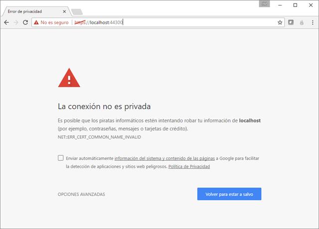 Chrome mostrando el error: La conexión no es privada