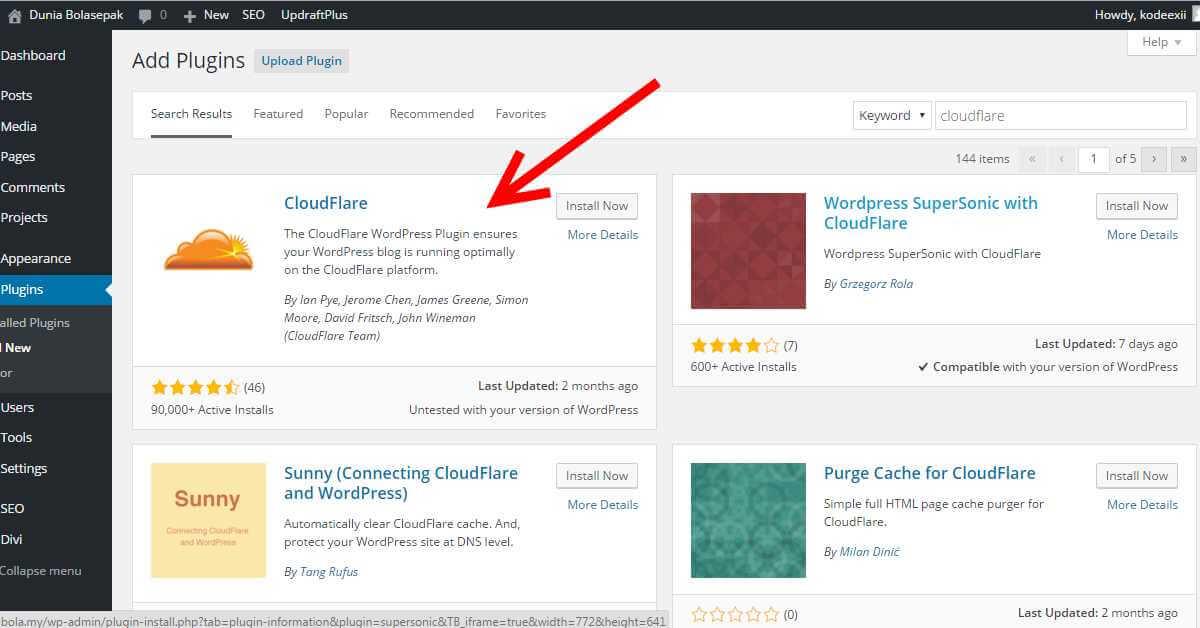 WordPress Cloudflare Plugin