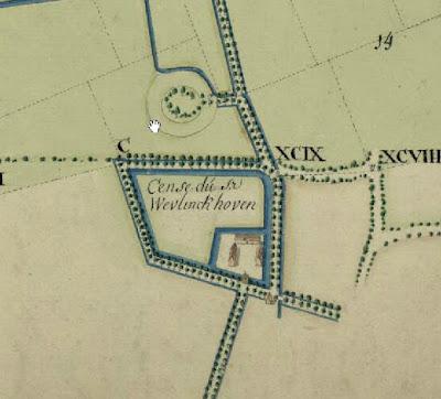 1769: uittreksel uit een figuratieve kaart van het inundatiegebied van de Demer