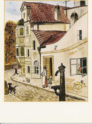 Alena Ladová (daughter of Josef Lada) - Old Prague, Kepler's House in the New World, regular-sized postcard