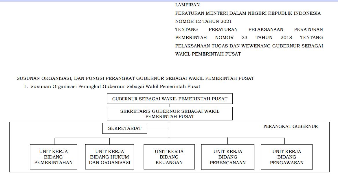 Struktur Organisasi dan Tata Kerja (SOTK) Pemerintahan Provinsi Sesuai Permendagri Nomor 12 Tahun 2021