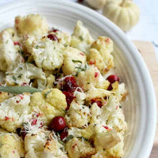 Roasted Cauliflower and Cranberry with Sage Butter and Black Truffle Oil