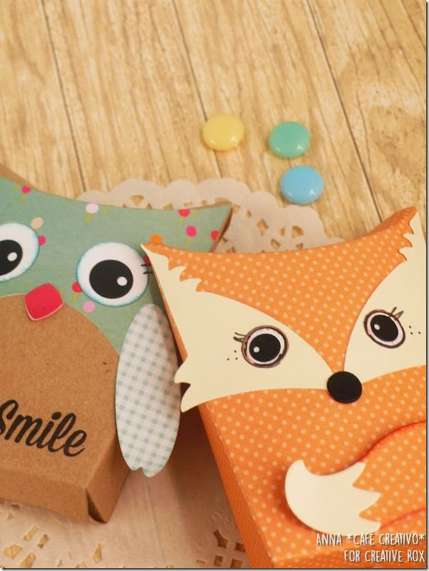 Pillow Boxes with Owl & Fox Sizzix Die set