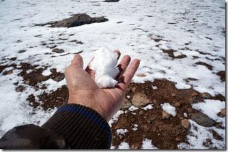 neve no caminho do Salar de Tara