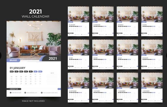Design Kalender Dinding Dengan Background Yang Natural | Design Kalender Gratis