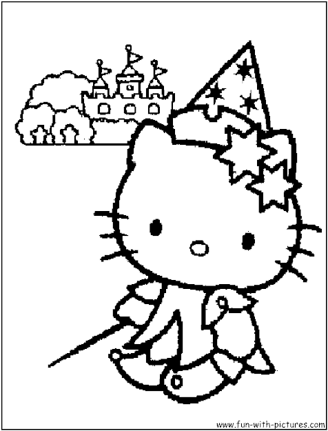 New Hello Kitty Halloween Coloring Pages