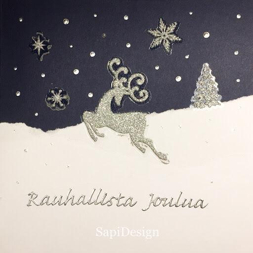 joulukortti kimalletarra kohokuvioliima ääriviivatarra SapiDesign