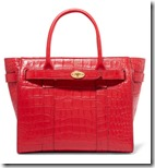Mulberry ruby stamped leather zip top leather tote