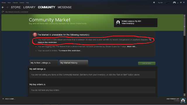 fitur di Steam secara maksimal alasannya yaitu akun kita masih Limited Account Cara Mengatasi Steam Market You Must Have Valid Purchase Between 30 Days