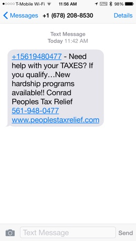 Conrads Tax Service- Rip Off Sending Spam Messages to Phones on Do