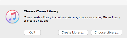 Alt  and Itunes ask which  llibrary to access