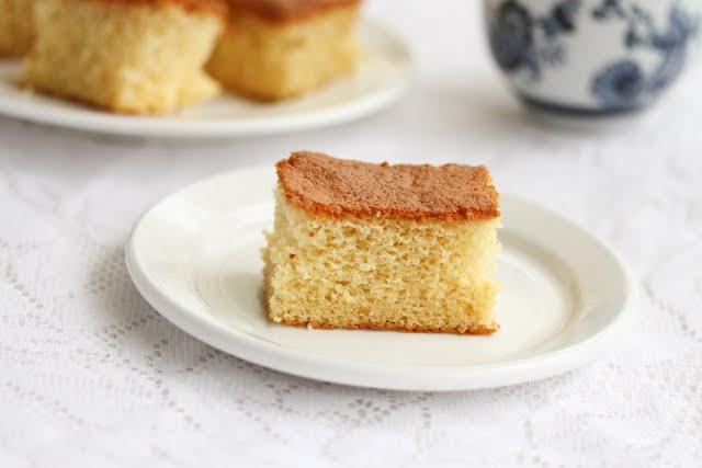 photo of a one slice of Castella cake on a plate