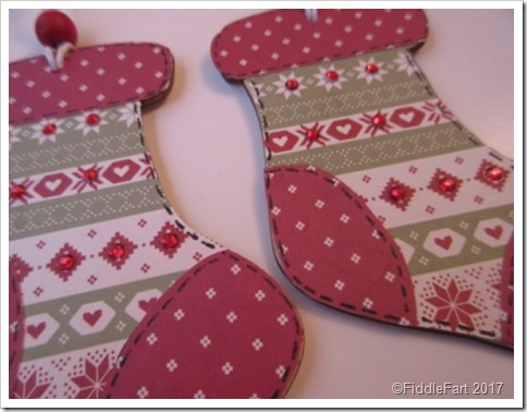 Nordic Wooden Christmas Stocking Tag. Paper piecing