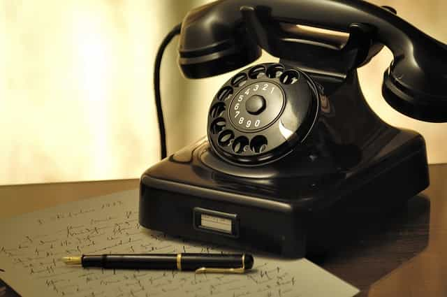 old telephone with dial